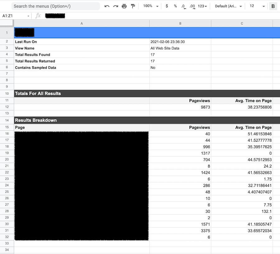 example of google sheet no code tool