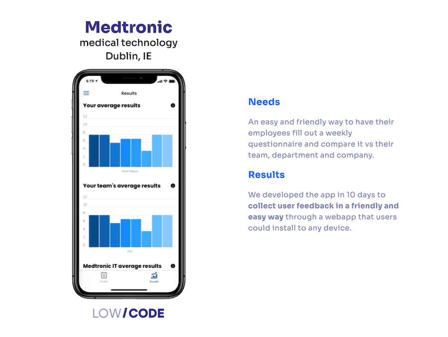 medtronic no code mobile app for internal use from lowcode agency