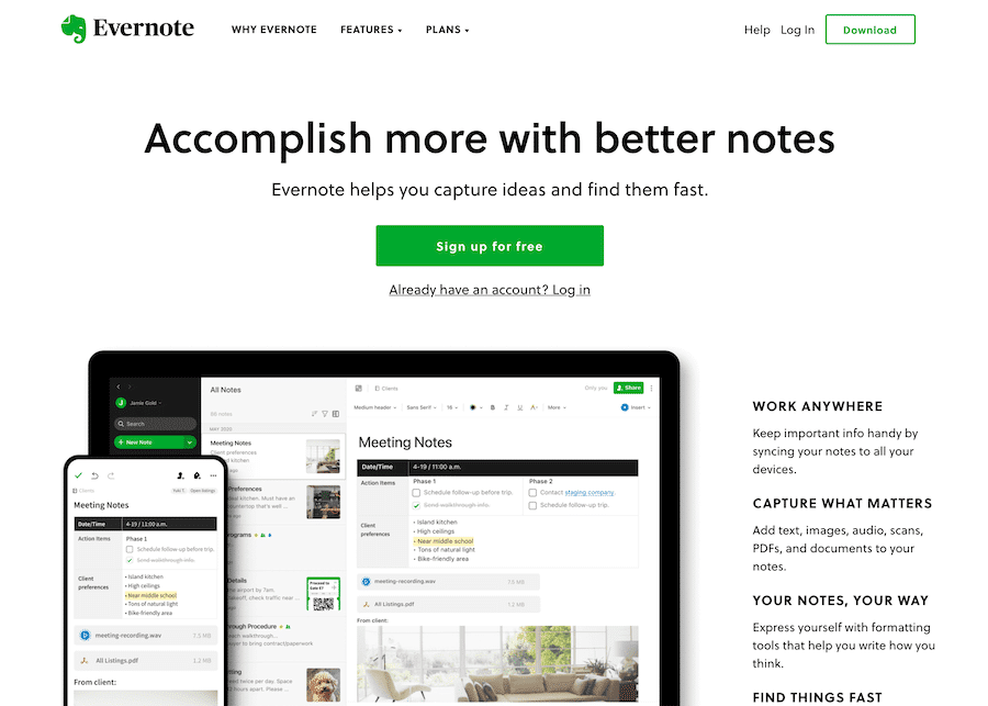 screenshot of evernote cloud app home page