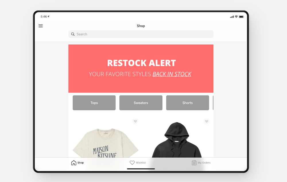 ecommerce example of no code app development project