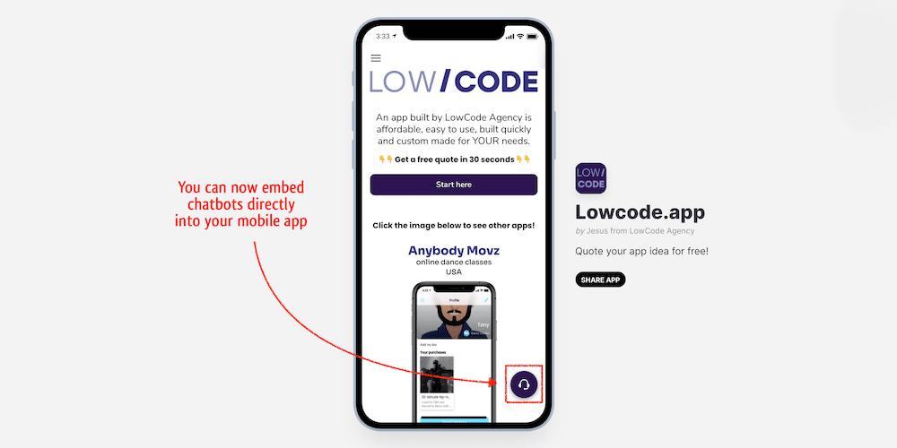 lowcode agency calculator app allows to embed chatbot