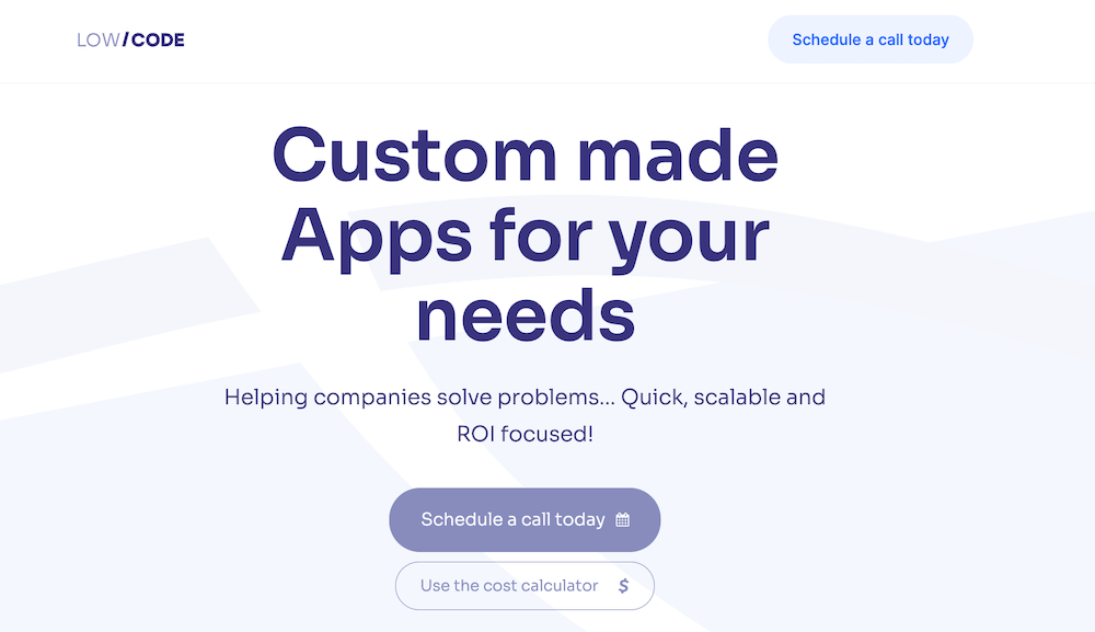 lowcode agency home page for app development