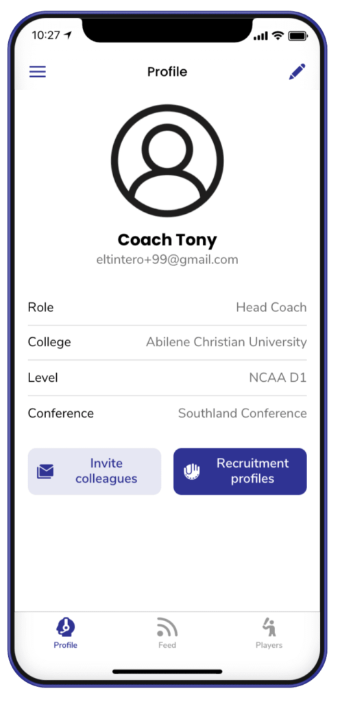 firstlook coaching app example coach profile creation