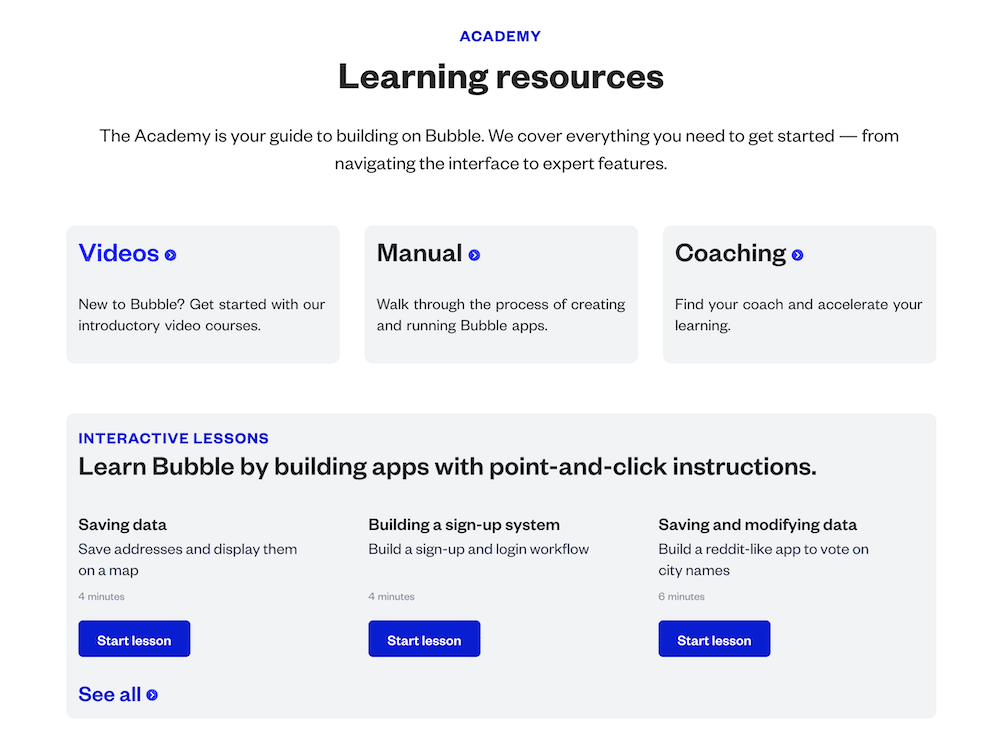 bubble io academy learning resources