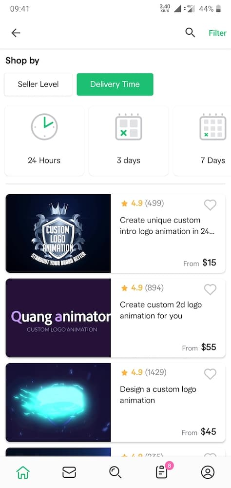 fiverr business models app example for purchasing productized services