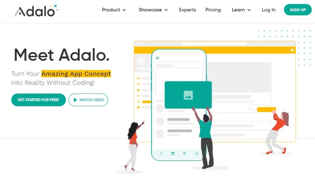 Home page for Adalo