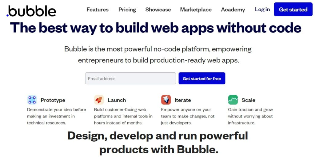 Home page for Bubble