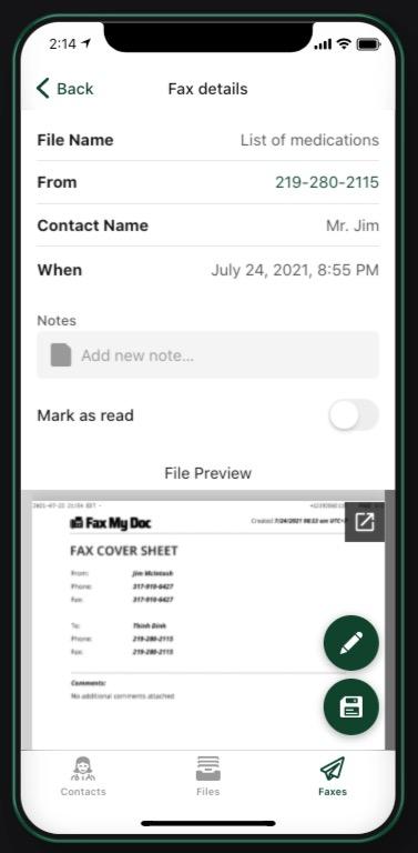 Fax My Doc Screenshot App - read unread faxes