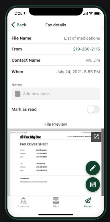 Fax My Doc Screenshot App - save the file