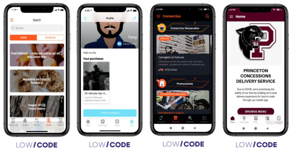 four phones and each of then has the screen of a Low Code built app.